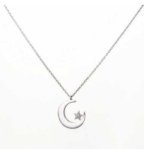 Srebrny naszyjnik z wisiorkiem w kształcie półksiężyca