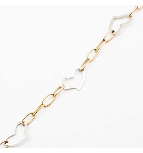 Złota bransoletka z serduszkami z białego złota