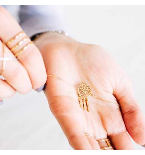 Pozłacany srebrny naszyjnik łapacz snów z trzema piórkami