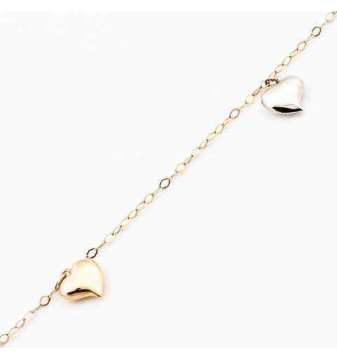 Złota bransoletka z serduszkami z białego i żółtego złota