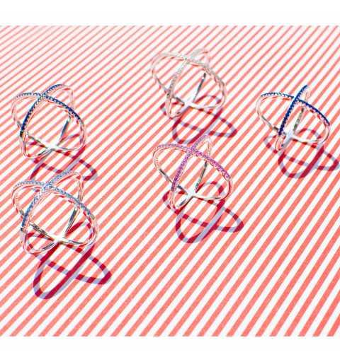 Srebrny pierścionek X różowe cyrkonie