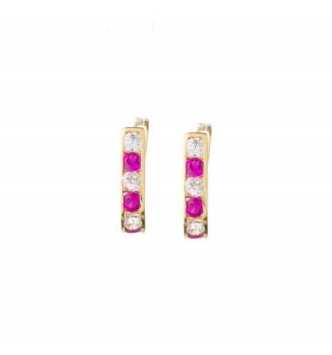 Złote kolczyki z różowymi i białymi cyrkoniami