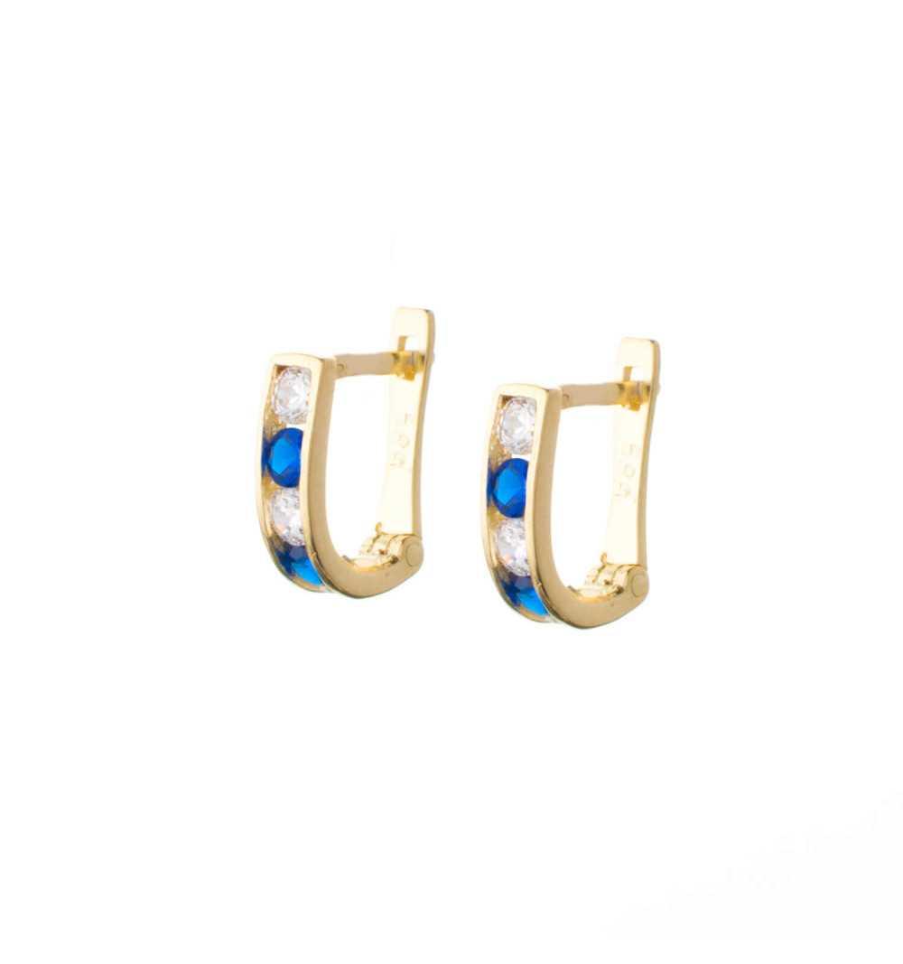 Złote kolczyki z szafirowymi i białymi cyrkoniami