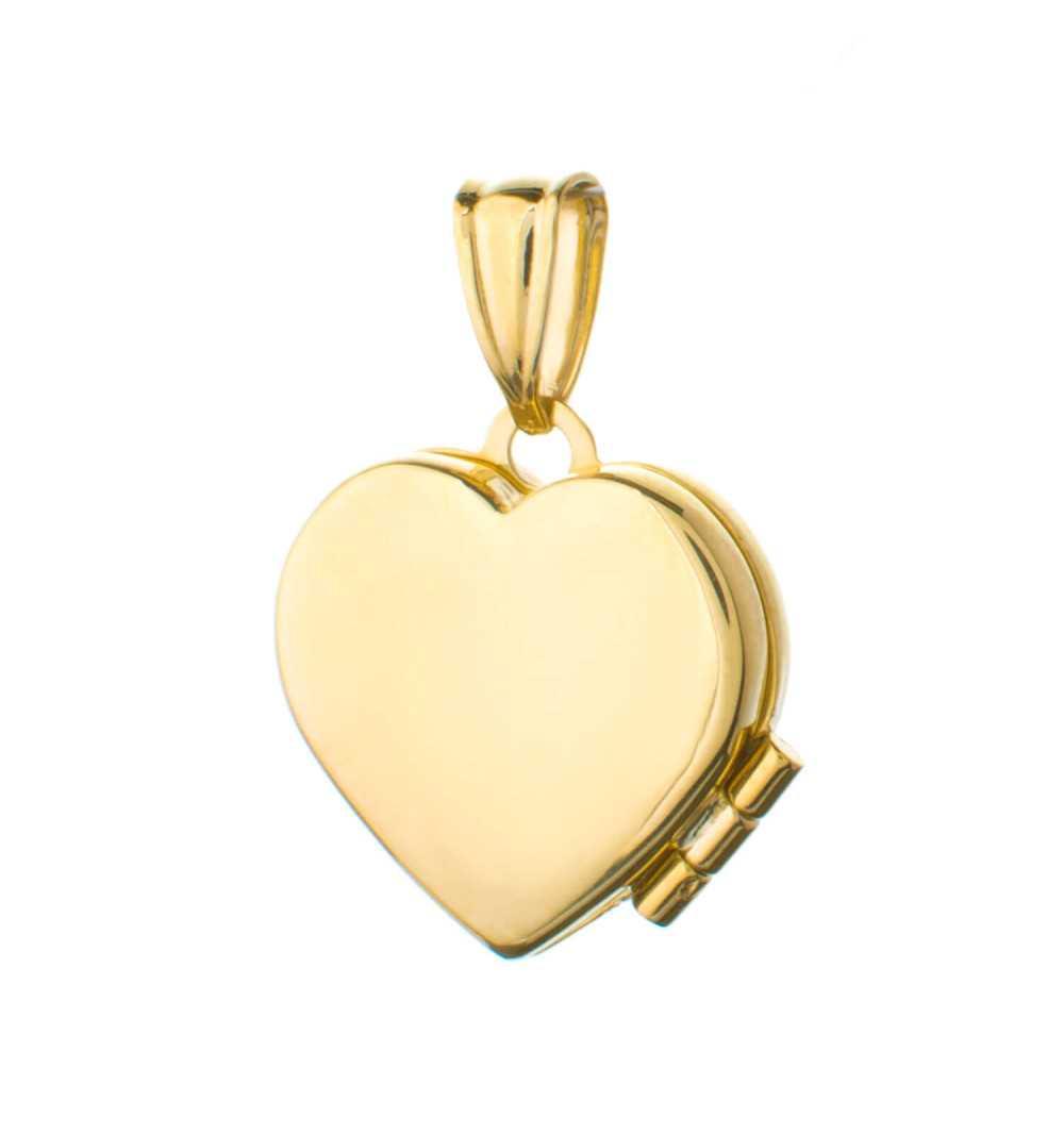 Złota zawieszka puzderko serce na zdjęcie