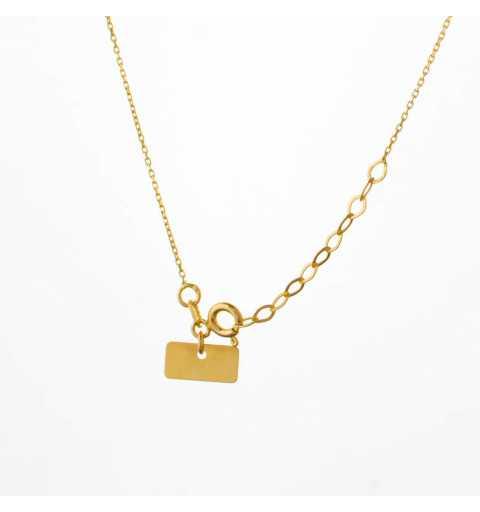 Złoty naszyjnik celebrytka z sercem, koniczyną i kółeczkiem