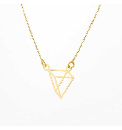 Złoty naszyjnik celebrytka trójkąt origami