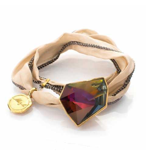 Srebrna bransoletka z naturalnego jedwabiu z Kryształem Swarovskiego VOLCANO