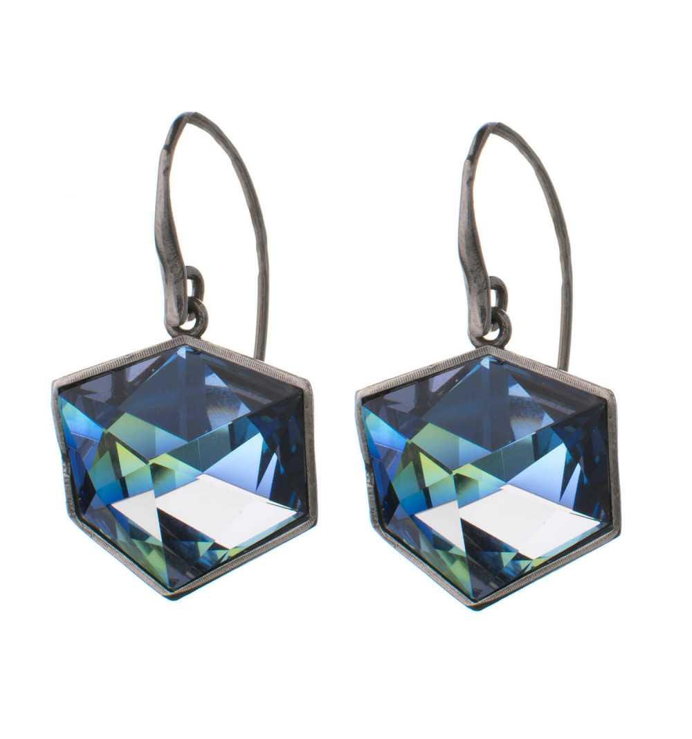 Efektowne srebrne kolczyki MOTYLE pokryte czarnym rodem z Kryształami Swarovskiego Crystal Sahara MR4524