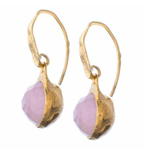 Srebrne kolczyki MOTYLE pokryte 24karatowym złotem z naturalnymi kamieniami kwarc różowy MG4252