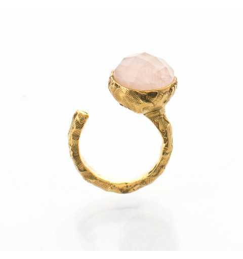 Srebrny pierścionek MOTYLE złocony 24karatowym złotem z naturalnym kamieniem kwarc różowy MG5252
