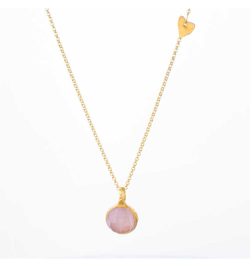 Naszyjnik MOTYLE złocony królewskim 24karatowym złotem z kamieniem naturalnym kwarc różowy MG2252