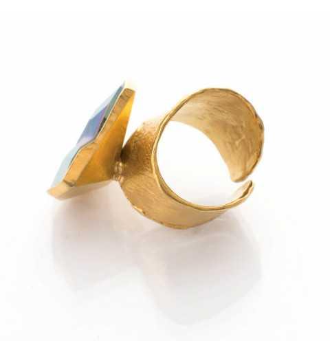Srebrny pierścionek MOTYLE złocony królewskim złotem z kryształem Swarovskiego Jean Paul Gaultier Scarabeus Green MG5233