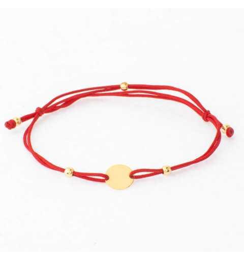 Złota bransoletka kółko czerwony sznurek