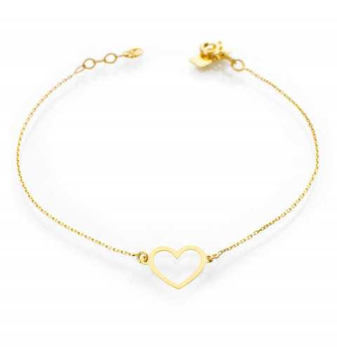 Złota bransoletka celebrytka serce kontur