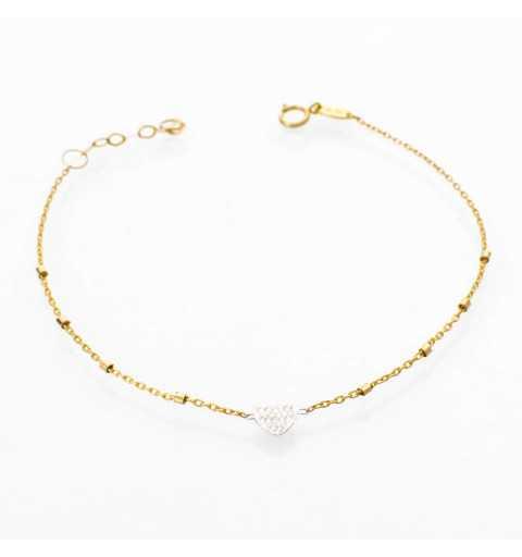 Złota bransoletka z serduszkiem z białego złota