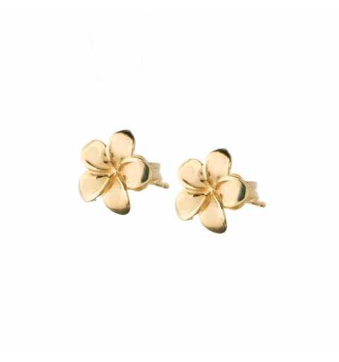 Złote kolczyki kwiatki na sztyfcie bez kamieni