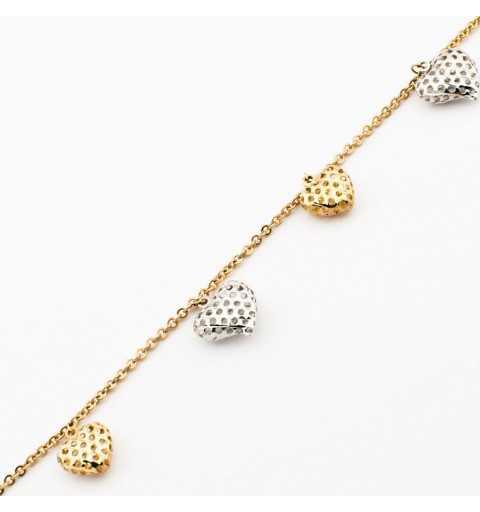 Złota bransoleta z dużymi dmuchanymi serduszkami