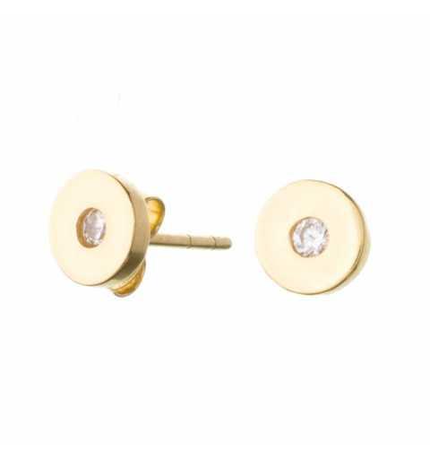 Złote kolczyki okrągłe z cyrkonią
