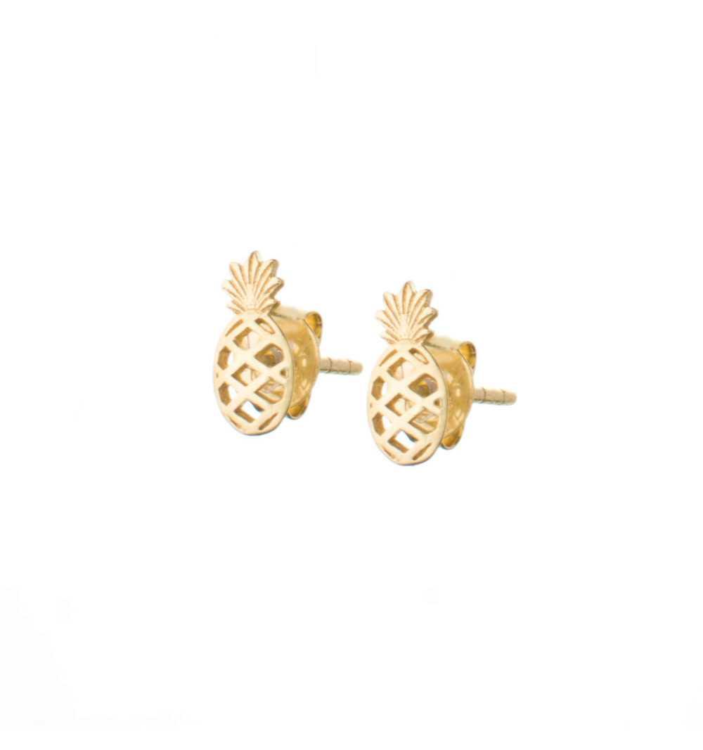 Złote kolczyki ananasy na sztyfty
