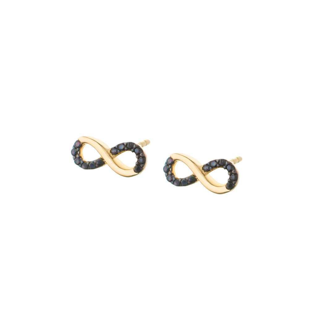 Złote kolczyki nieskończoność z czarnymi cyrkoniami wkrętki