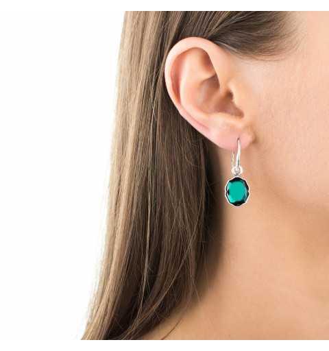 Eleganckie srebrne kolczyki MOTYLE z zielonym Kryształem Swarovskiego Emerald MSA4521