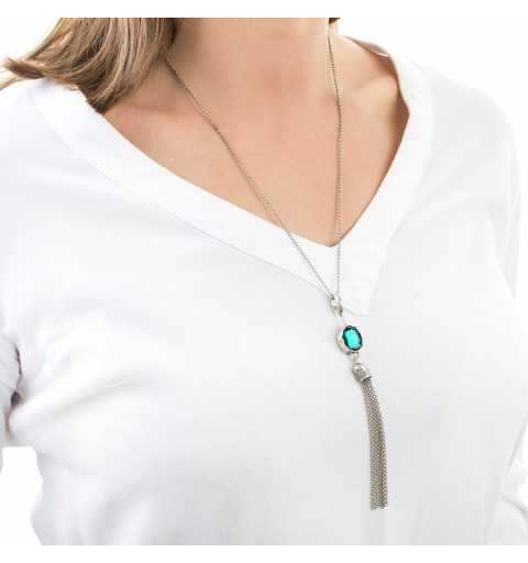 Srebrny naszyjnik MOTYLE w kolorze antycznego srebra z Kryształem Swarovskiego Emerald MS2521