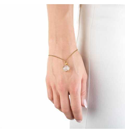 Srebrna bransoletka MOTYLE złocona 24karatowym złotem z kamieniem naturalnym kwarc różowy MG3252