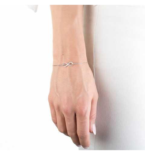 Srebrna bransoletka z symbolem nieskończoności cyrkonie