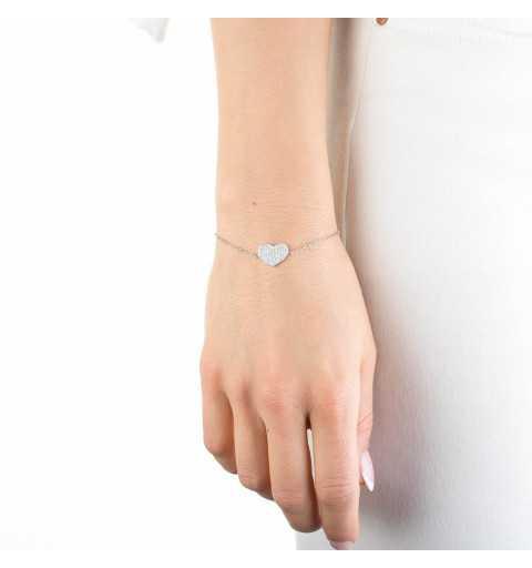 Srebrna bransoletka z serduszkiem wysadzanym białymi cyrkoniami