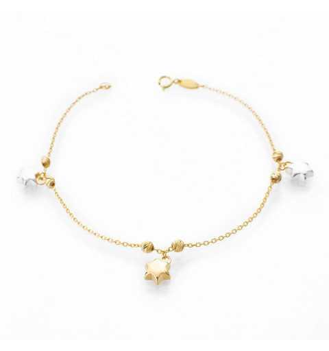 Złota bransoletka gwiazdki żółte i białe złoto