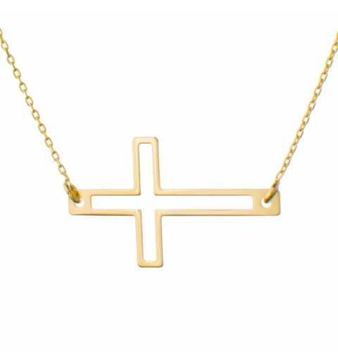 Złoty naszyjnik celebrytka krzyżyk kontur