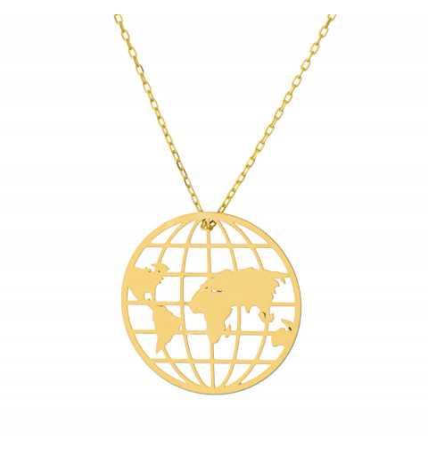 Złoty naszyjnik globus
