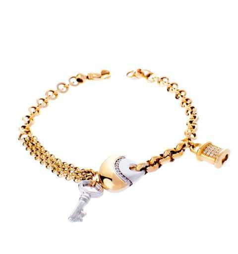 Złota bransoleta z różnych...