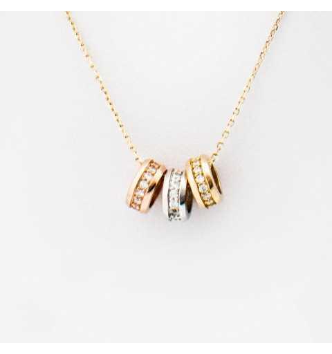 Złoty naszyjnik celebrytka z drobnymi obrączkami