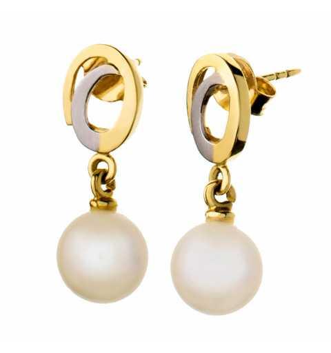 Złote kolczyki z perłami...