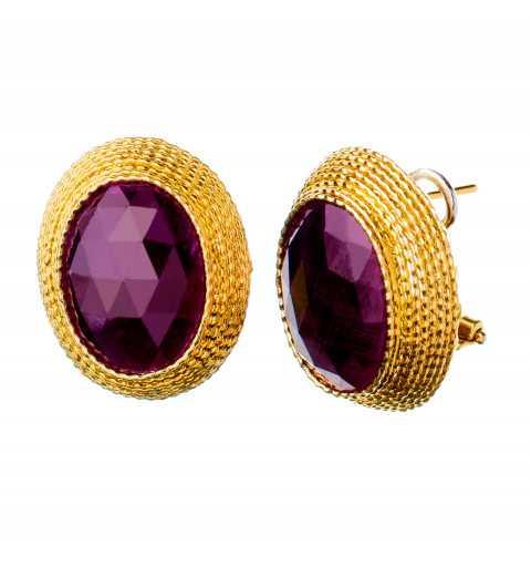 Złote kolczyki z rubinowymi...