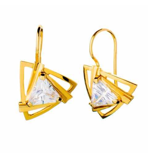 Złote kolczyki trójkąty z...
