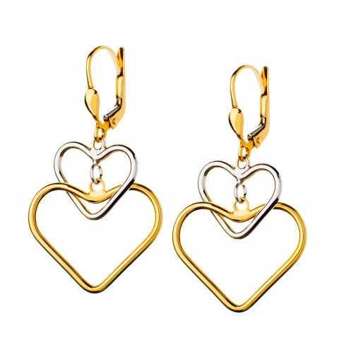 Złote kolczyki dwa serca...