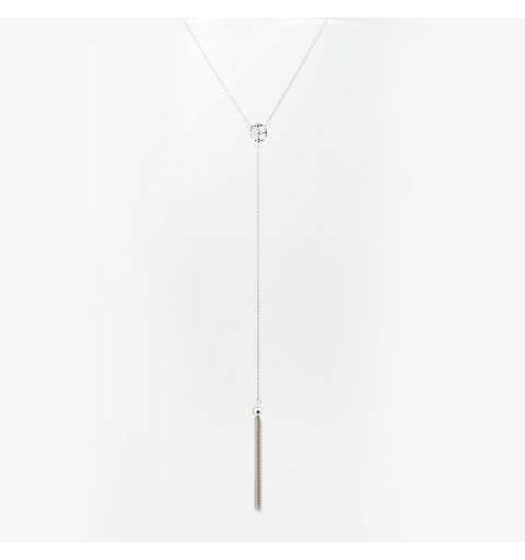 Srebrny naszyjnik krawatka z ażurowym kółeczkiem i gęstą miotełką