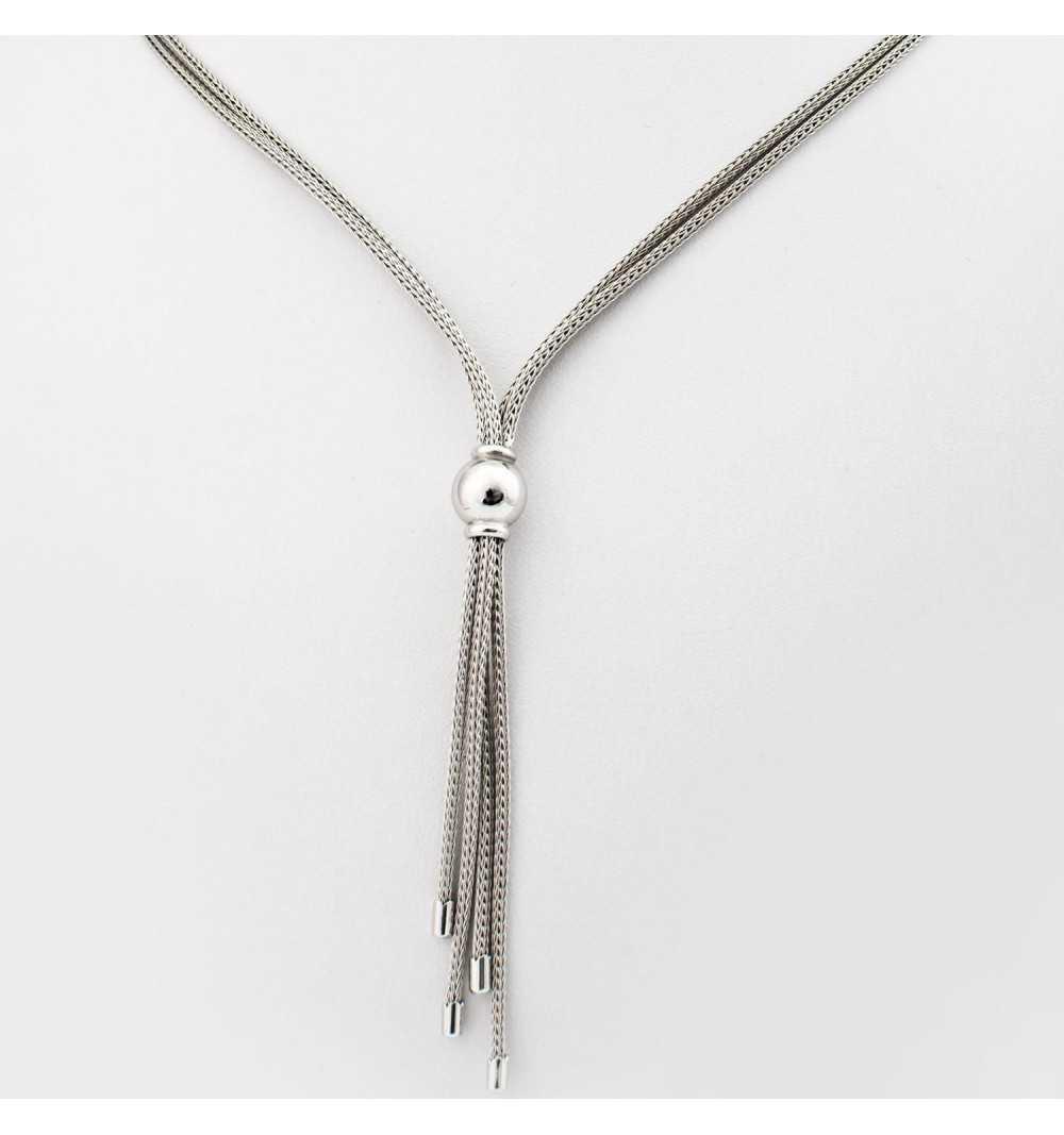 Srebrny naszyjnik z trzema wiszącymi łezkami