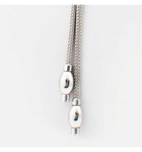 Srebrny naszyjnik krawatka z dwoma wiszącym wisiorkami