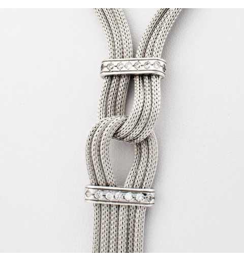 Włoski srebrny naszyjnik z elegancką ozdobą wysadzana cyrkoniami