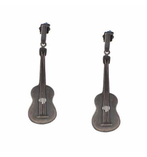Srebrne kolczyki gitary...