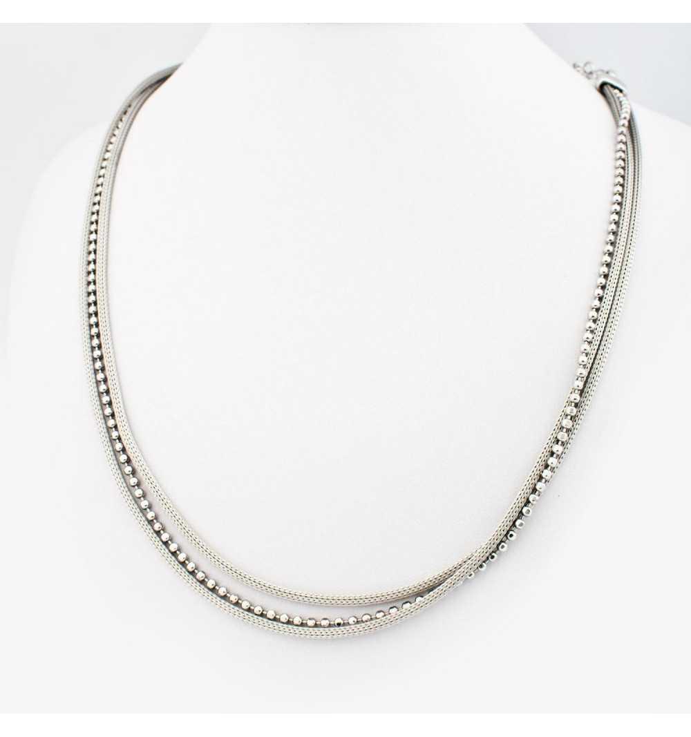 Srebrny naszyjnik z trzech ozdobnych łańcuszków