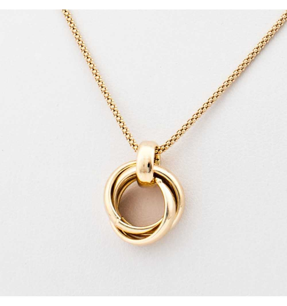 Pozłacany srebrny naszyjnik z ozdobą z pierścieni