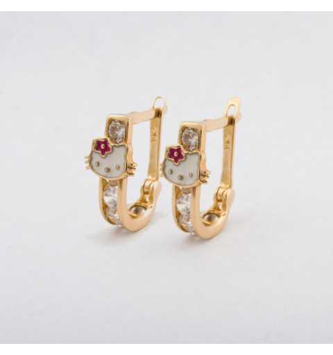 Złote kolczyki z Hello Kitty