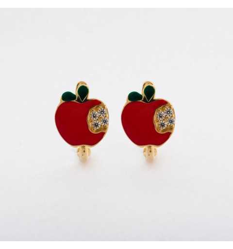 Złote kolczyki z czerwonym jabłuszkiem