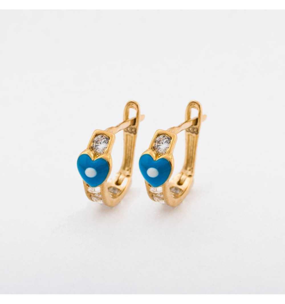 Złote kolczyki z niebieskim serduszkiem i białymi cyrkoniami