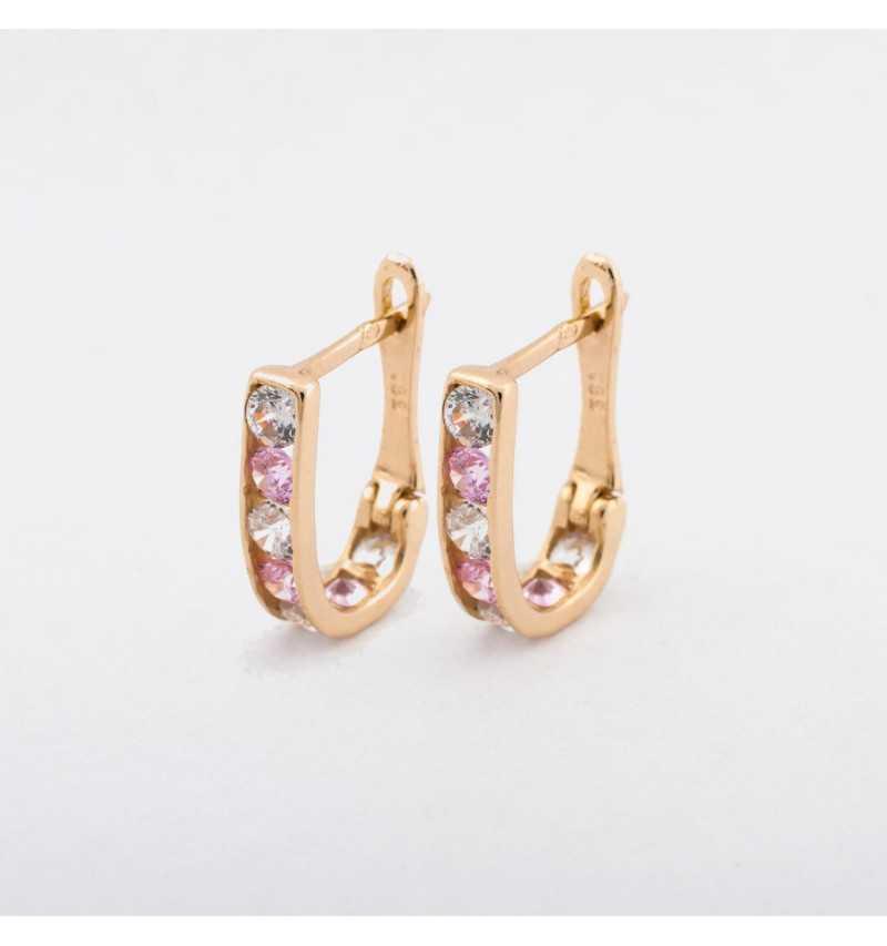 Delikatne złote kolczyki z lekko różowymi i białymi cyrkoniami