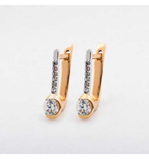 Złote kolczyki z białego i żółtego złota z piękną cyrkonią
